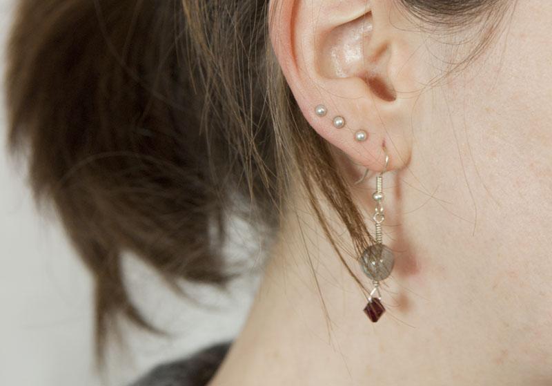 Ohrringe aus Botswana-Achat und Swarovski-Kristall