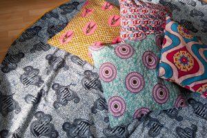 Große runde Stranddecke nähen aus afrikanischem Waxprint